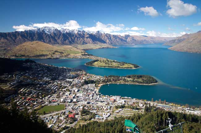 Queenstown is a resort town located on the South Island in New Zealand.